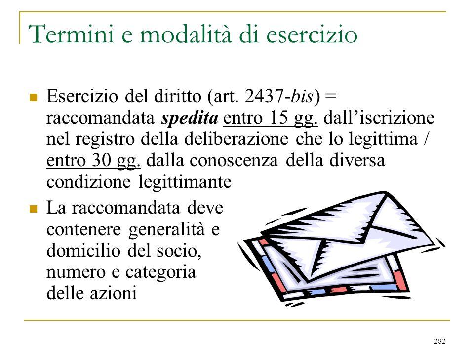 282 Termini e modalità di esercizio Esercizio del diritto (art.