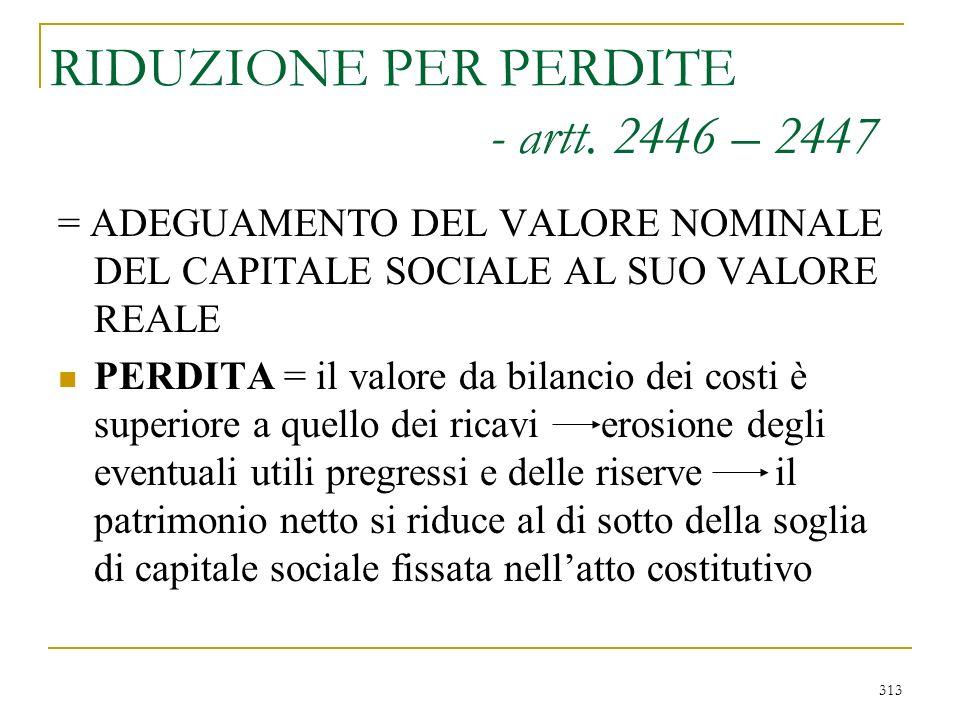 313 RIDUZIONE PER PERDITE - artt.
