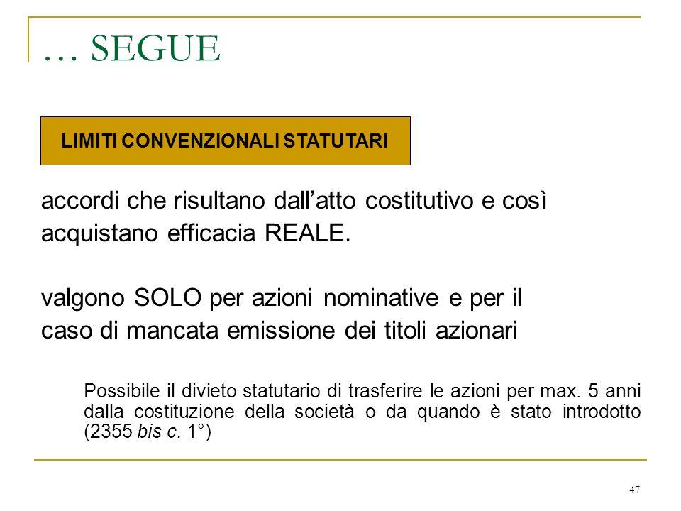 47 … SEGUE accordi che risultano dallatto costitutivo e così acquistano efficacia REALE.