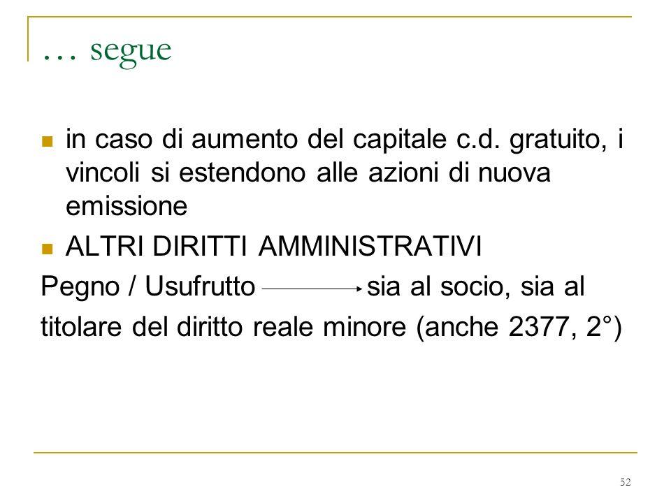 52 … segue in caso di aumento del capitale c.d.