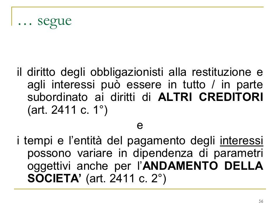 56 … segue il diritto degli obbligazionisti alla restituzione e agli interessi può essere in tutto / in parte subordinato ai diritti di ALTRI CREDITORI (art.