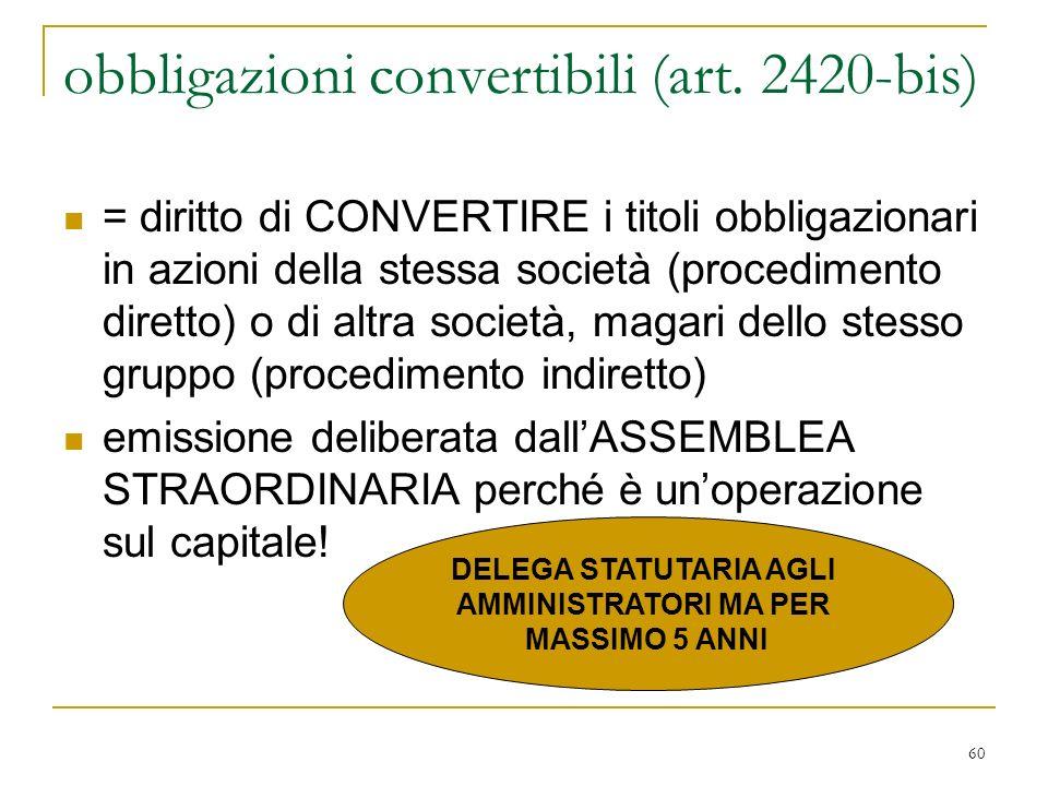 60 obbligazioni convertibili (art.