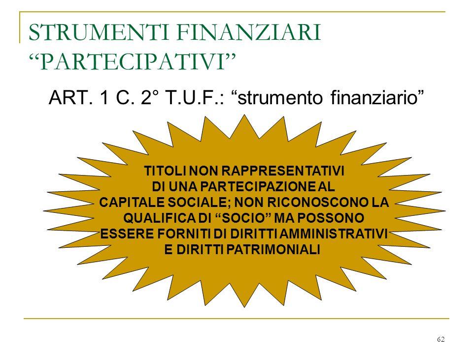 62 STRUMENTI FINANZIARI PARTECIPATIVI ART.1 C.