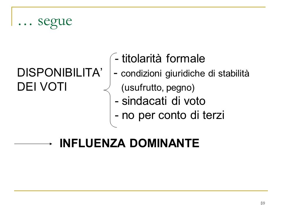89 … segue - titolarità formale DISPONIBILITA - condizioni giuridiche di stabilità DEI VOTI (usufrutto, pegno) - sindacati di voto - no per conto di terzi INFLUENZA DOMINANTE