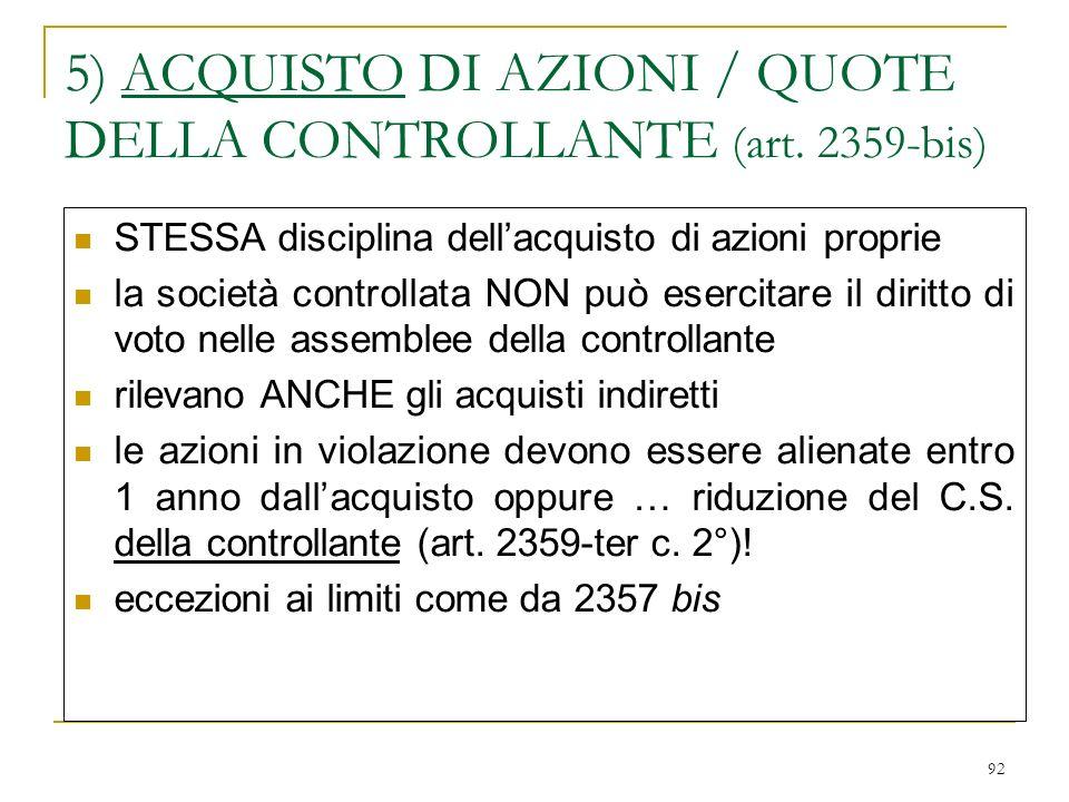 92 5) ACQUISTO DI AZIONI / QUOTE DELLA CONTROLLANTE (art.