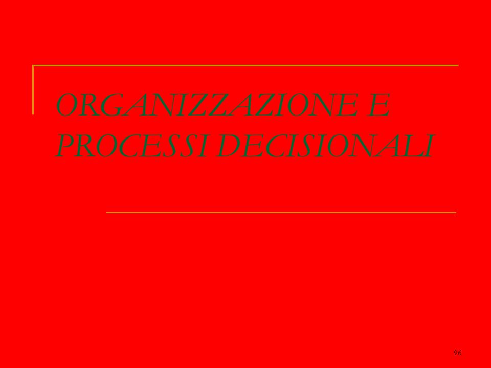 96 ORGANIZZAZIONE E PROCESSI DECISIONALI
