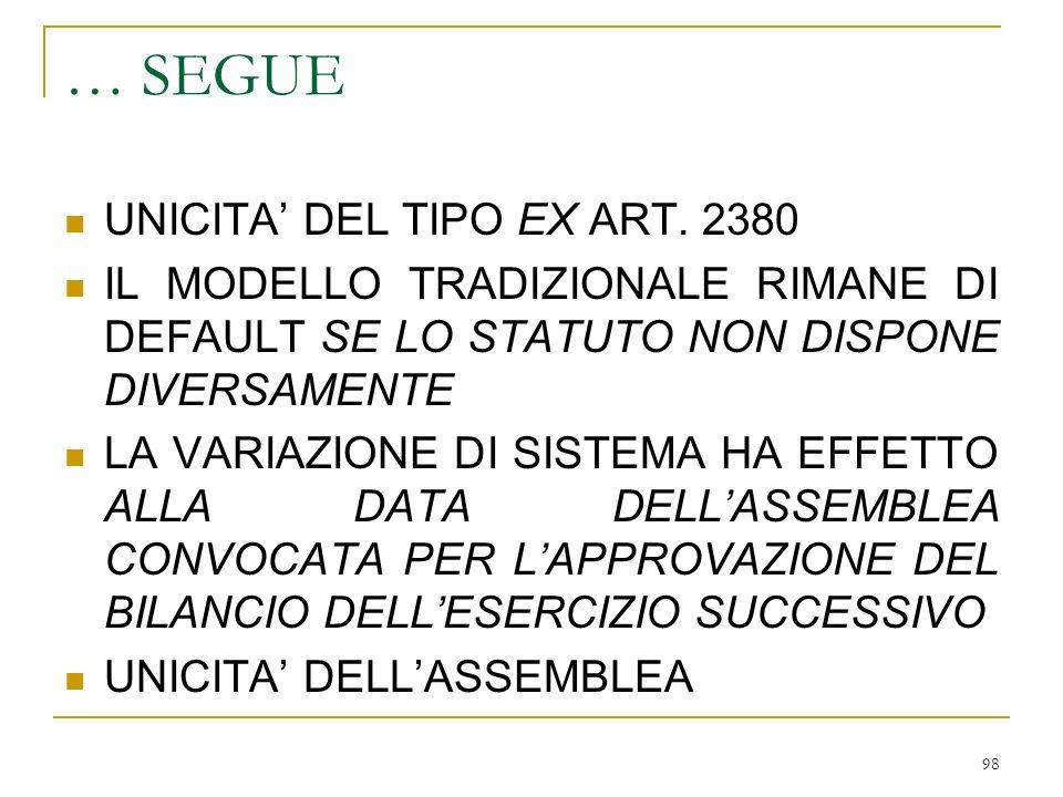98 … SEGUE UNICITA DEL TIPO EX ART.