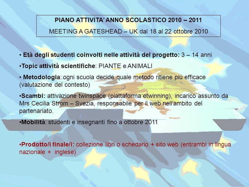PIANO ATTIVITA ANNO SCOLASTICO 2010 – 2011 MEETING A GATESHEAD – UK dal 18 al 22 ottobre 2010 Età degli studenti coinvolti nelle attività del progetto