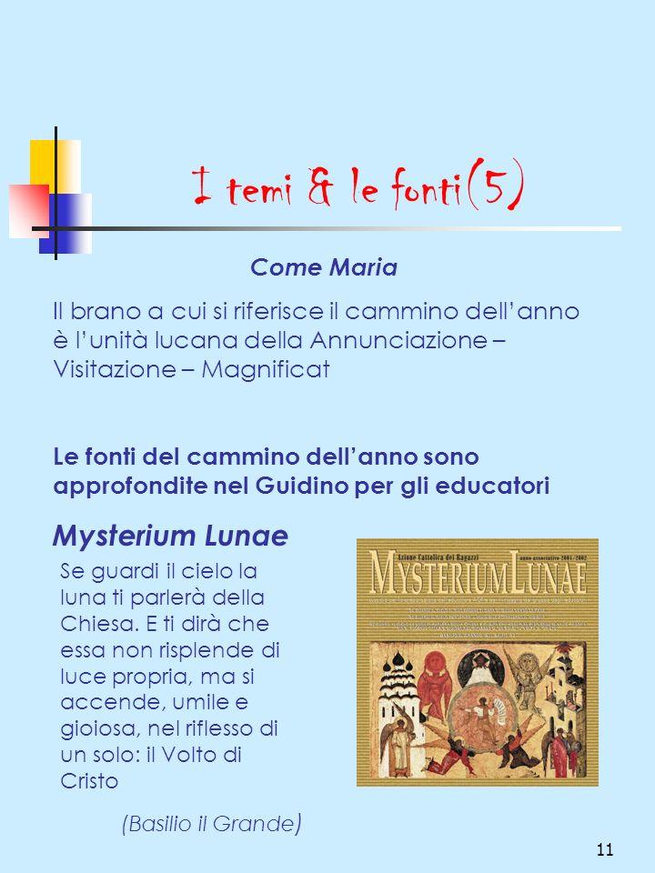 11 I temi & le fonti(5) Come Maria Il brano a cui si riferisce il cammino dellanno è lunità lucana della Annunciazione – Visitazione – Magnificat Le f