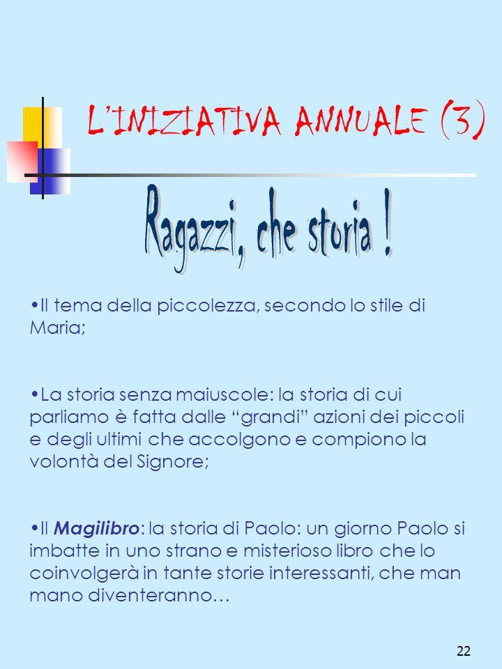 22 LINIZIATIVA ANNUALE (3) Il tema della piccolezza, secondo lo stile di Maria; La storia senza maiuscole: la storia di cui parliamo è fatta dalle gra