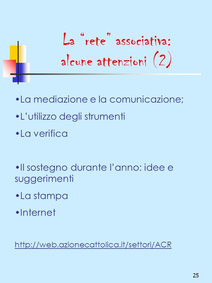 25 La rete associativa: alcune attenzioni (2) La mediazione e la comunicazione; Lutilizzo degli strumenti La verifica Il sostegno durante lanno: idee e suggerimenti La stampa Internet http://web.azionecattolica.it/settori/ACR