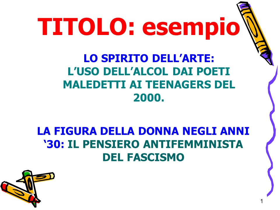 1 TITOLO: esempio LO SPIRITO DELLARTE: LUSO DELLALCOL DAI POETI MALEDETTI AI TEENAGERS DEL 2000.