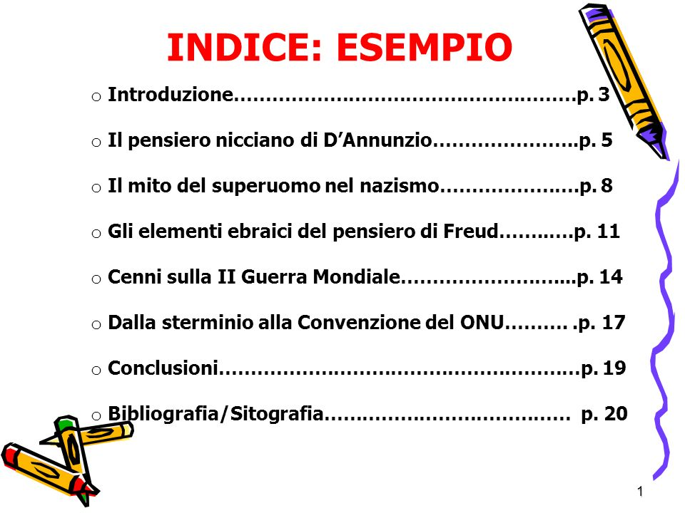 1 INDICE: ESEMPIO o Introduzione………………………………………………p.