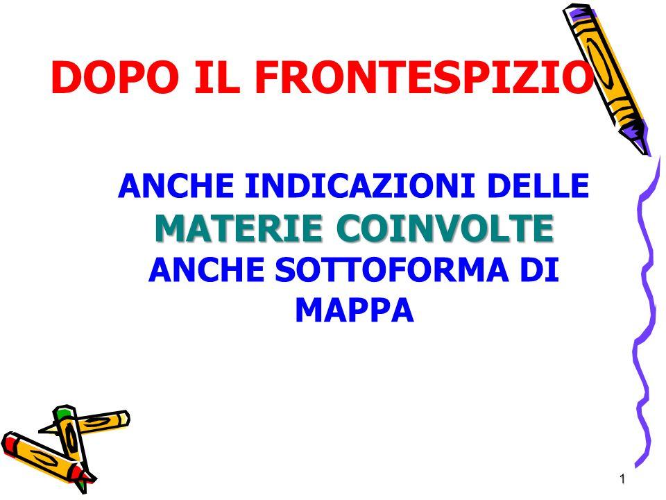 1 DOPO IL FRONTESPIZIO MATERIE COINVOLTE ANCHE INDICAZIONI DELLE MATERIE COINVOLTE ANCHE SOTTOFORMA DI MAPPA