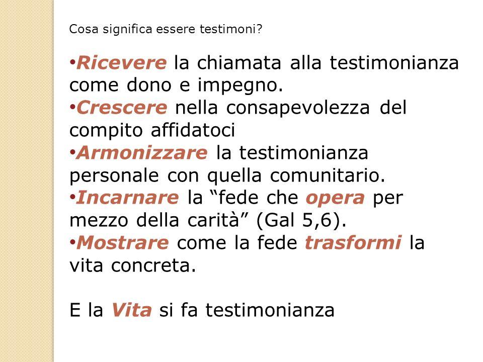 Cosa significa essere testimoni? Ricevere la chiamata alla testimonianza come dono e impegno. Crescere nella consapevolezza del compito affidatoci Arm