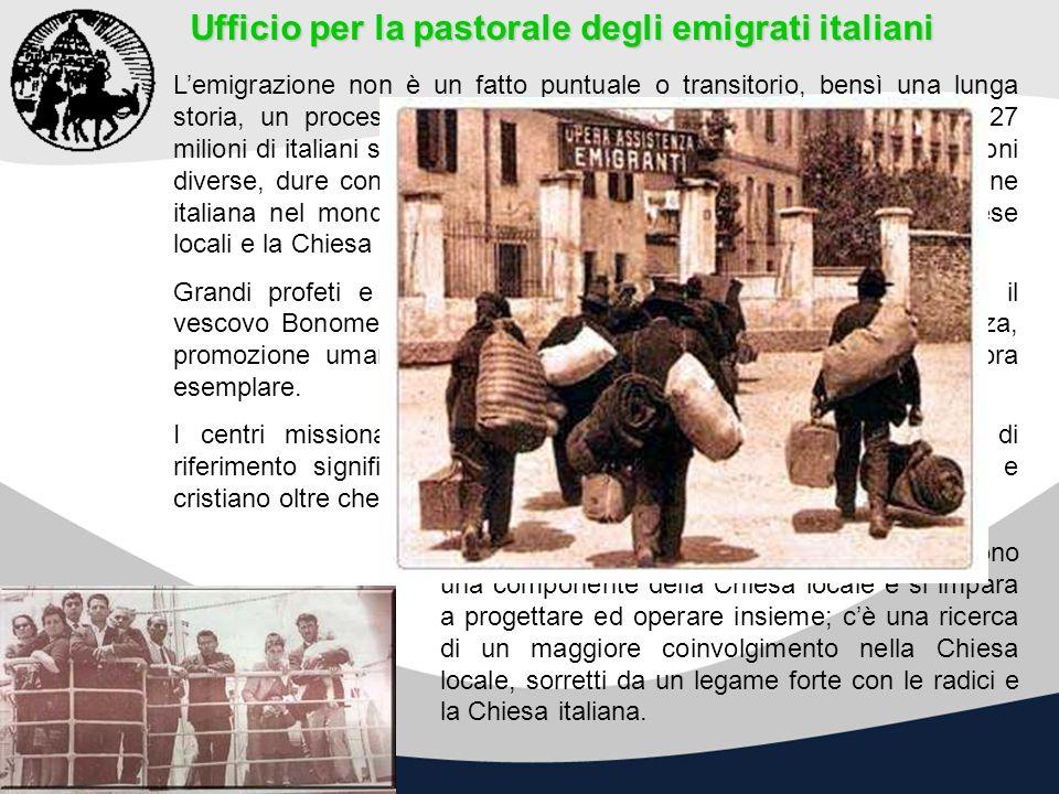 Ufficio per la pastorale degli emigrati italiani Lemigrazione non è un fatto puntuale o transitorio, bensì una lunga storia, un processo sociale, poli