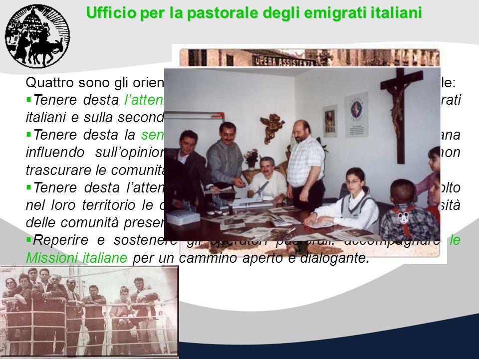 Ufficio per la pastorale degli emigrati italiani Quattro sono gli orientamenti pastorali attuali dellUfficio nazionale: Tenere desta lattenzione della