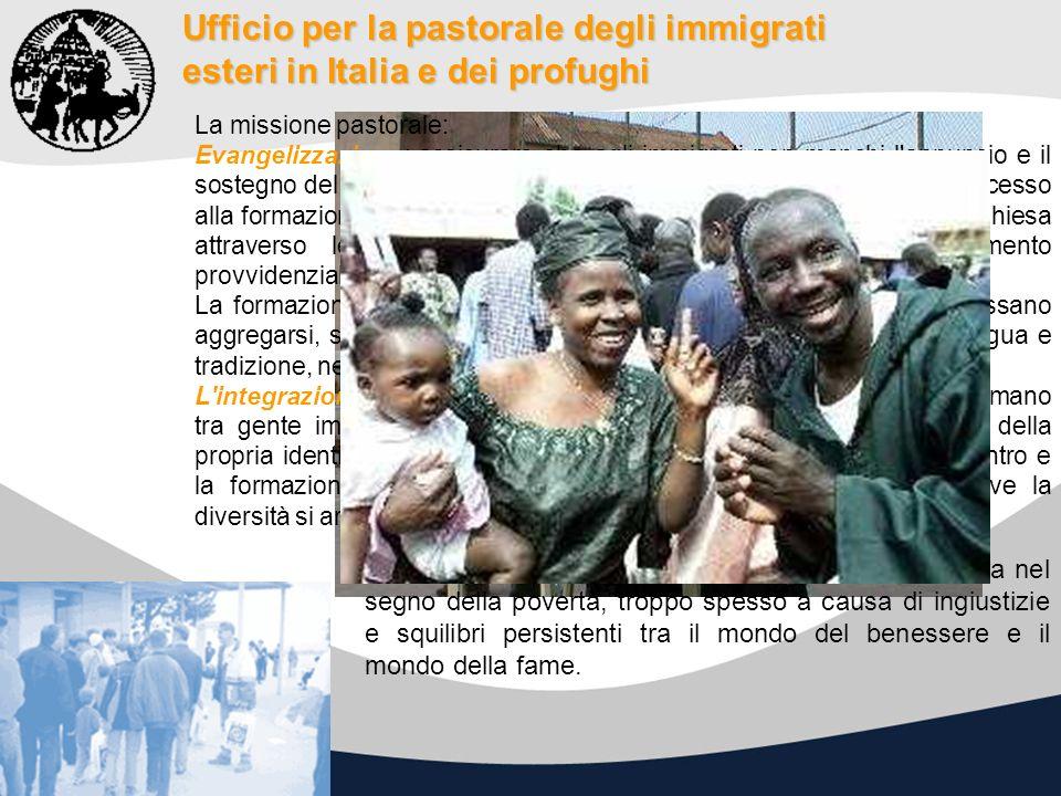 Ufficio per la pastorale degli immigrati esteri in Italia e dei profughi La missione pastorale: Evangelizzazione: assicurare che agli immigrati non ma