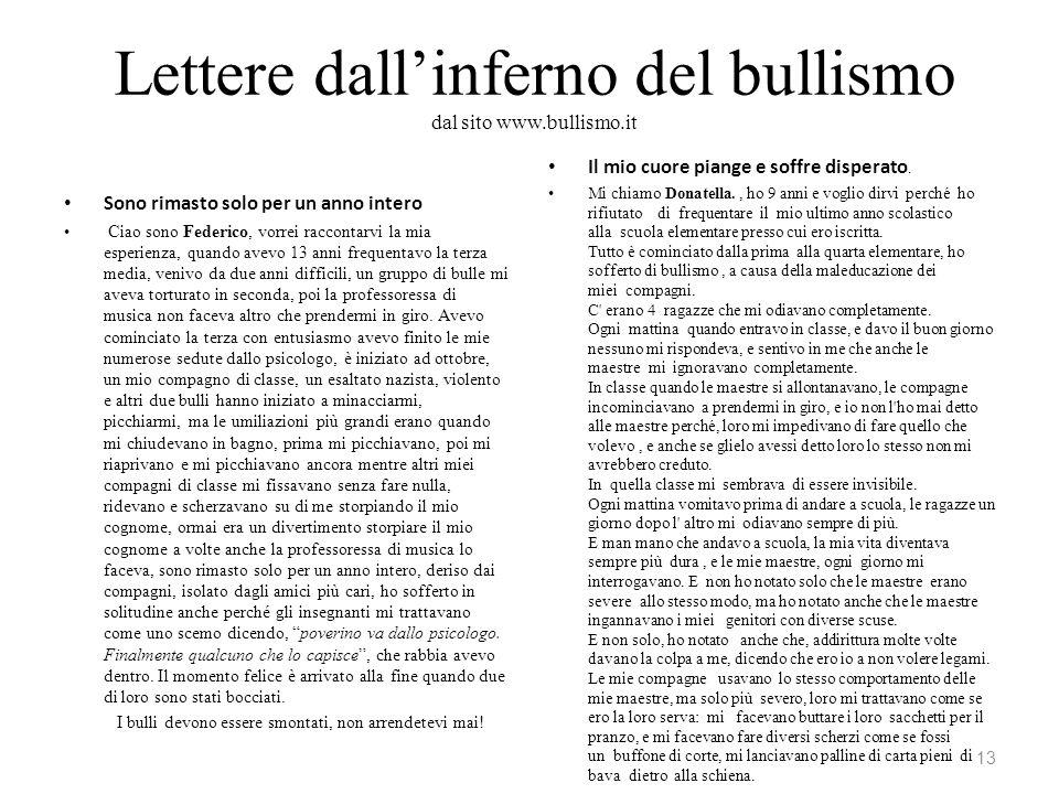 Lettere dallinferno del bullismo dal sito www.bullismo.it Sono rimasto solo per un anno intero Ciao sono Federico, vorrei raccontarvi la mia esperienz