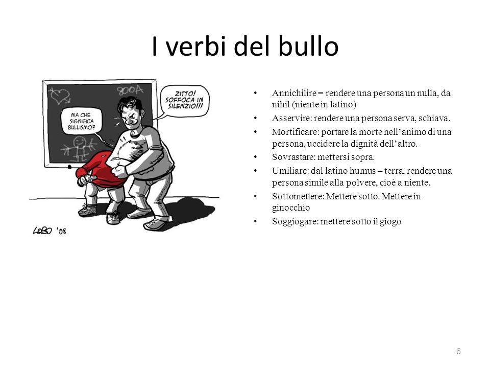 I verbi del bullo Annichilire = rendere una persona un nulla, da nihil (niente in latino) Asservire: rendere una persona serva, schiava. Mortificare: