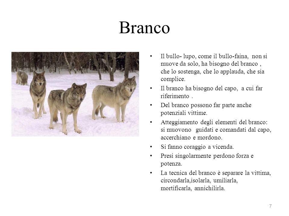 Branco Il bullo- lupo, come il bullo-faina, non si muove da solo, ha bisogno del branco, che lo sostenga, che lo applauda, che sia complice. Il branco