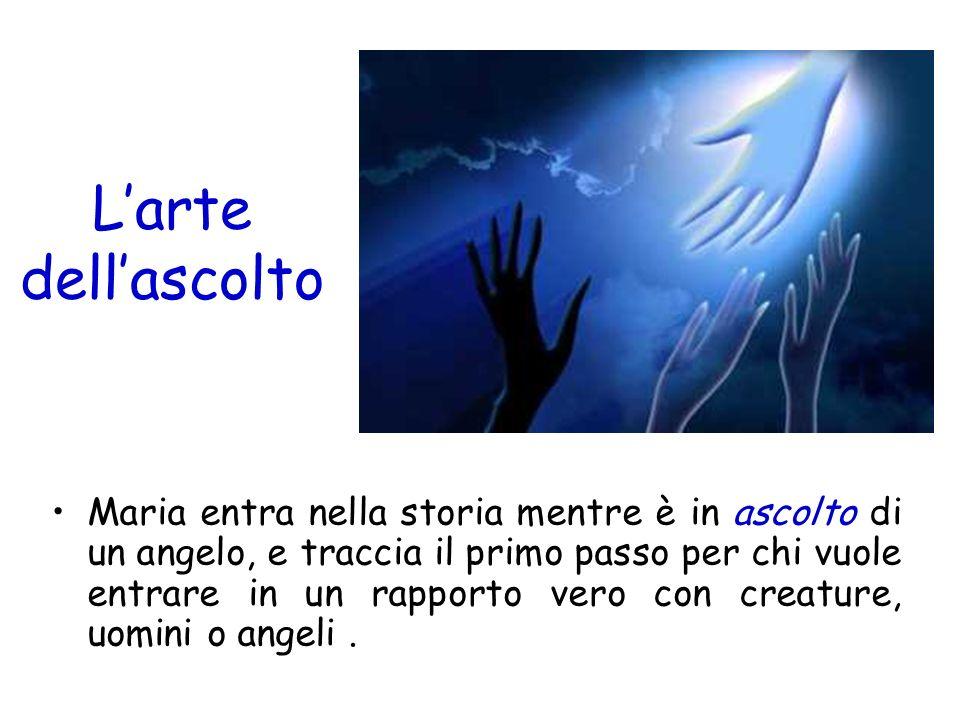 Larte dellascolto Maria entra nella storia mentre è in ascolto di un angelo, e traccia il primo passo per chi vuole entrare in un rapporto vero con cr