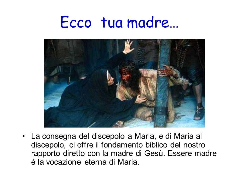 Ecco tua madre… La consegna del discepolo a Maria, e di Maria al discepolo, ci offre il fondamento biblico del nostro rapporto diretto con la madre di