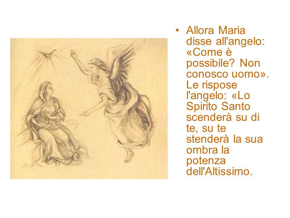 Allora Maria disse all'angelo: «Come è possibile? Non conosco uomo». Le rispose l'angelo: «Lo Spirito Santo scenderà su di te, su te stenderà la sua o