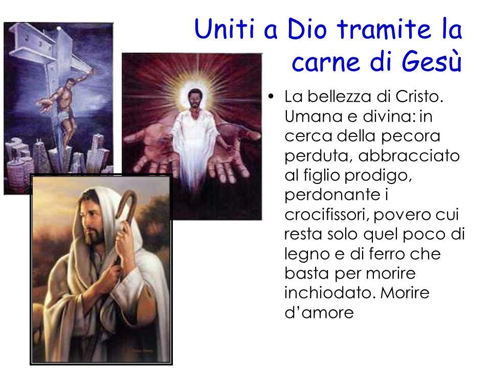 Uniti a Dio tramite la carne di Gesù La bellezza di Cristo. Umana e divina: in cerca della pecora perduta, abbracciato al figlio prodigo, perdonante i