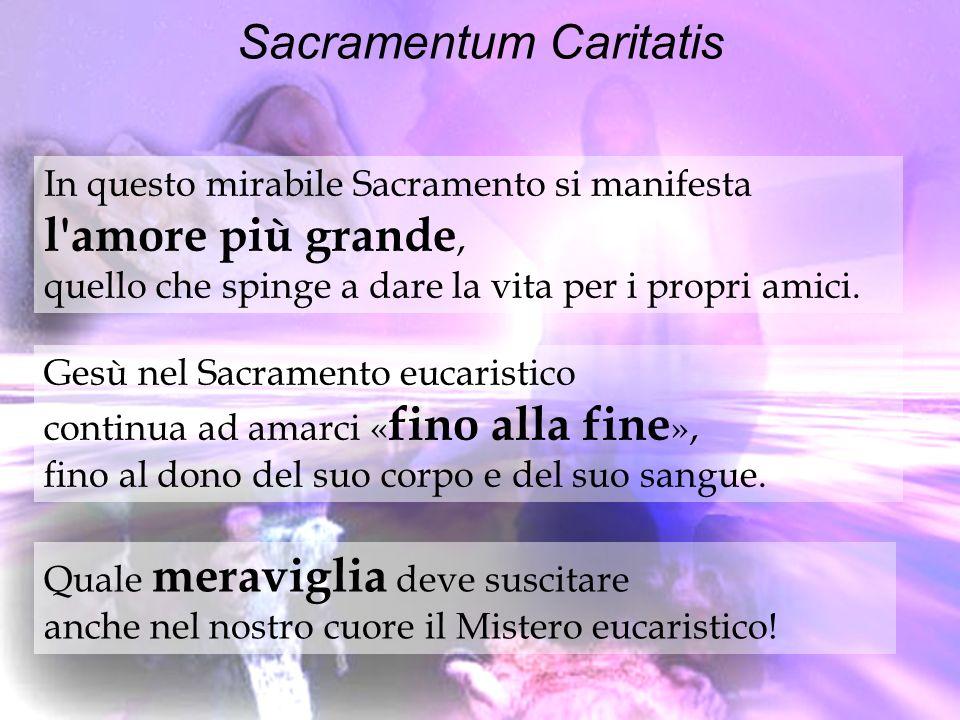 Sacramentum Caritatis In questo mirabile Sacramento si manifesta l'amore più grande, quello che spinge a dare la vita per i propri amici. Gesù nel Sac