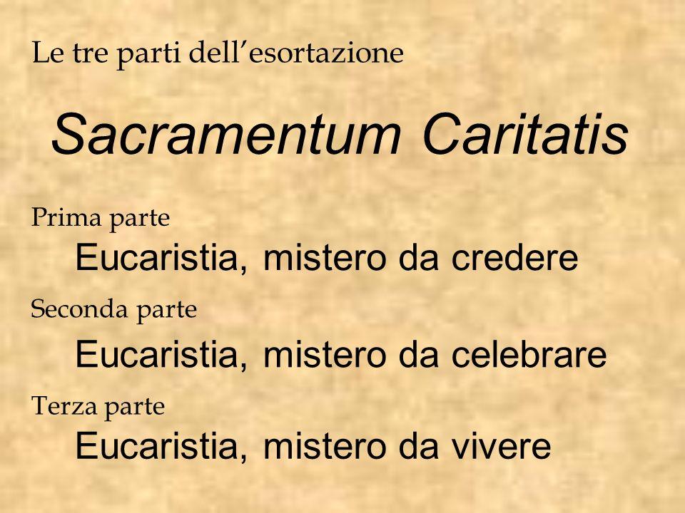 Sacramentum Caritatis Le tre parti dellesortazione Prima parte Eucaristia, mistero da credere Seconda parte Eucaristia, mistero da celebrare Terza par