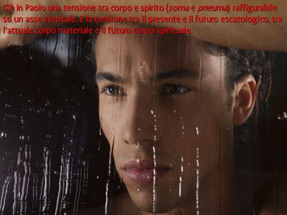 C'è in Paolo una tensione tra corpo e spirito (soma e pneuma) raffigurabile su un asse verticale, è la tensione tra il presente e il futuro escatologi