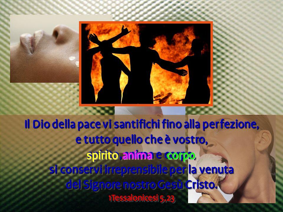Il Dio della pace vi santifichi fino alla perfezione, e tutto quello che è vostro, spirito, anima e corpo, si conservi irreprensibile per la venuta de