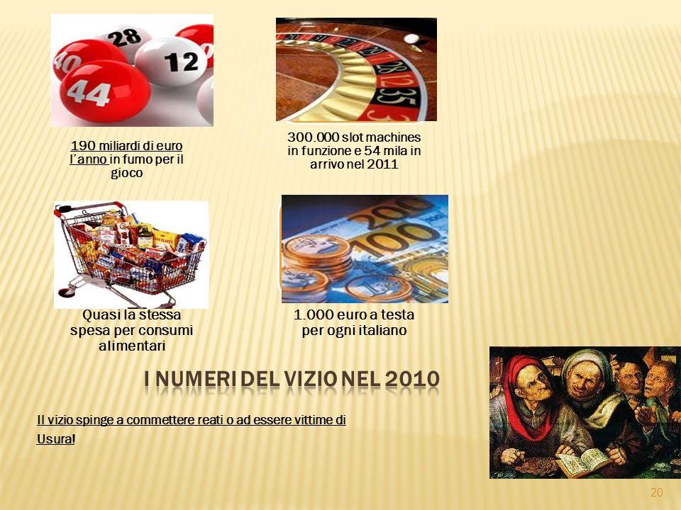 190 miliardi di euro lanno in fumo per il gioco 300.000 slot machines in funzione e 54 mila in arrivo nel 2011 Quasi la stessa spesa per consumi alimentari 1.000 euro a testa per ogni italiano 20 Il vizio spinge a commettere reati o ad essere vittime di Usura!