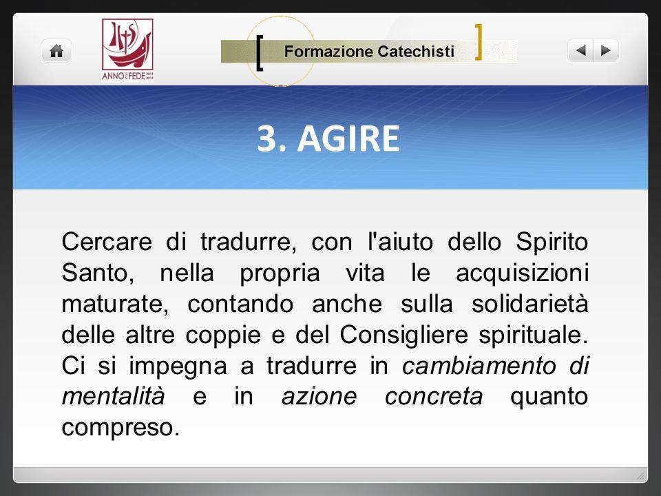 3. AGIRE Cercare di tradurre, con l'aiuto dello Spirito Santo, nella propria vita le acquisizioni maturate, contando anche sulla solidarietà delle alt