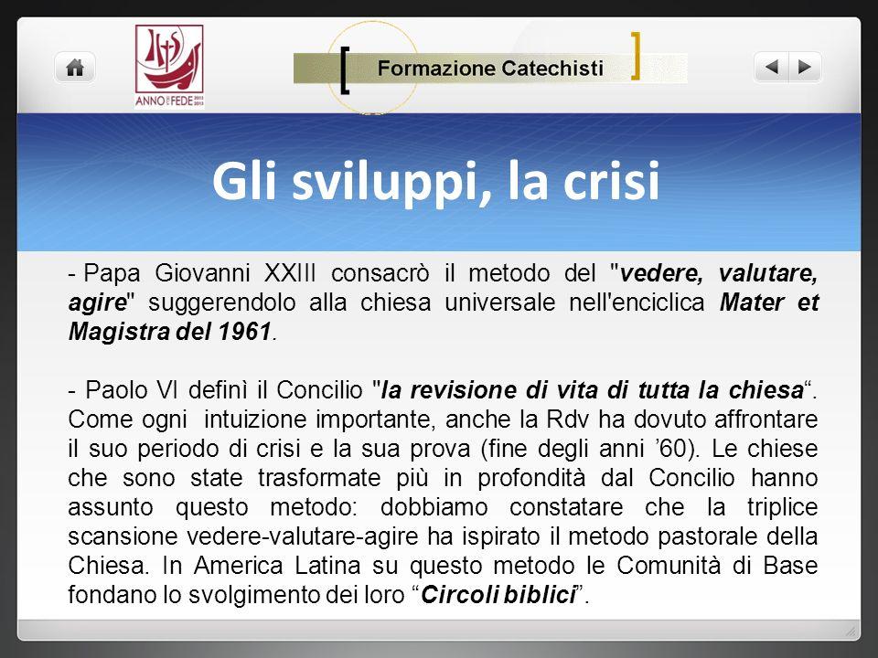 Gli sviluppi, la crisi - Papa Giovanni XXIII consacrò il metodo del