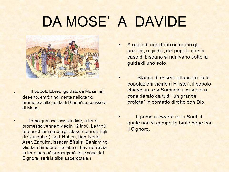 DA MOSE A DAVIDE. Il popolo Ebreo, guidato da Mosè nel deserto, entrò finalmente nella terra promessa alla guida di Giosuè successore di Mosè. Dopo qu