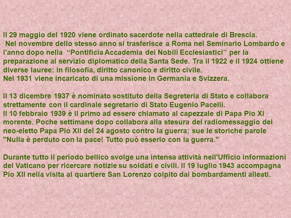 Il 29 maggio del 1920 viene ordinato sacerdote nella cattedrale di Brescia. Nel novembre dello stesso anno si trasferisce a Roma nel Seminario Lombard