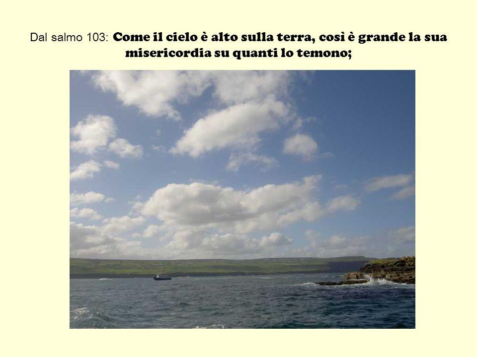 Dal salmo 103: Come il cielo è alto sulla terra, così è grande la sua misericordia su quanti lo temono;