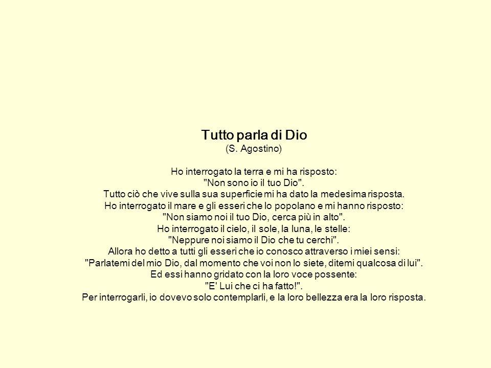 Tutto parla di Dio (S. Agostino) Ho interrogato la terra e mi ha risposto: