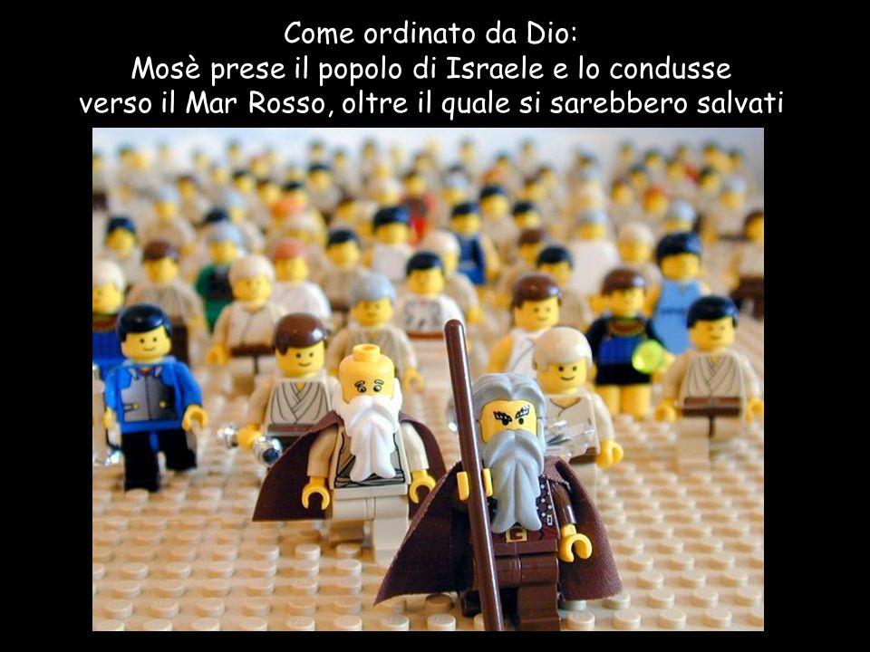 Come ordinato da Dio: Mosè prese il popolo di Israele e lo condusse verso il Mar Rosso, oltre il quale si sarebbero salvati