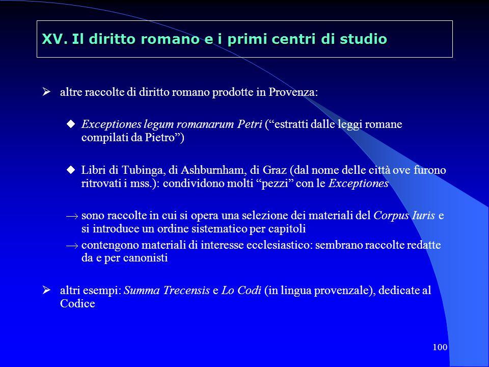 100 XV. Il diritto romano e i primi centri di studio altre raccolte di diritto romano prodotte in Provenza: Exceptiones legum romanarum Petri (estratt