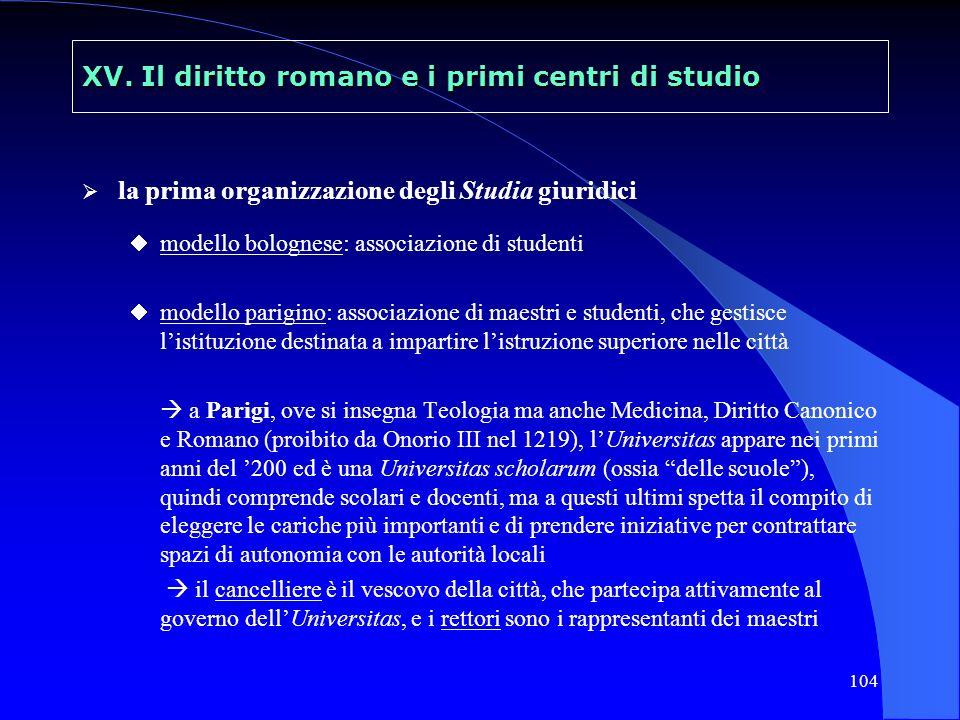 104 XV. Il diritto romano e i primi centri di studio la prima organizzazione degli Studia giuridici modello bolognese: associazione di studenti modell