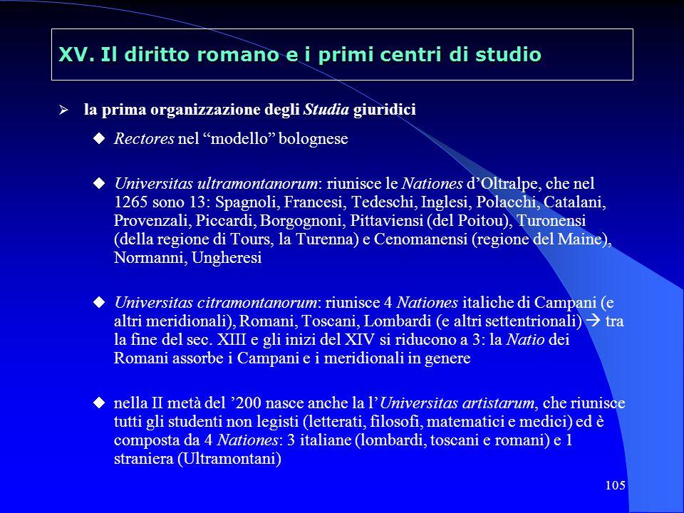 105 XV. Il diritto romano e i primi centri di studio la prima organizzazione degli Studia giuridici Rectores nel modello bolognese Universitas ultramo