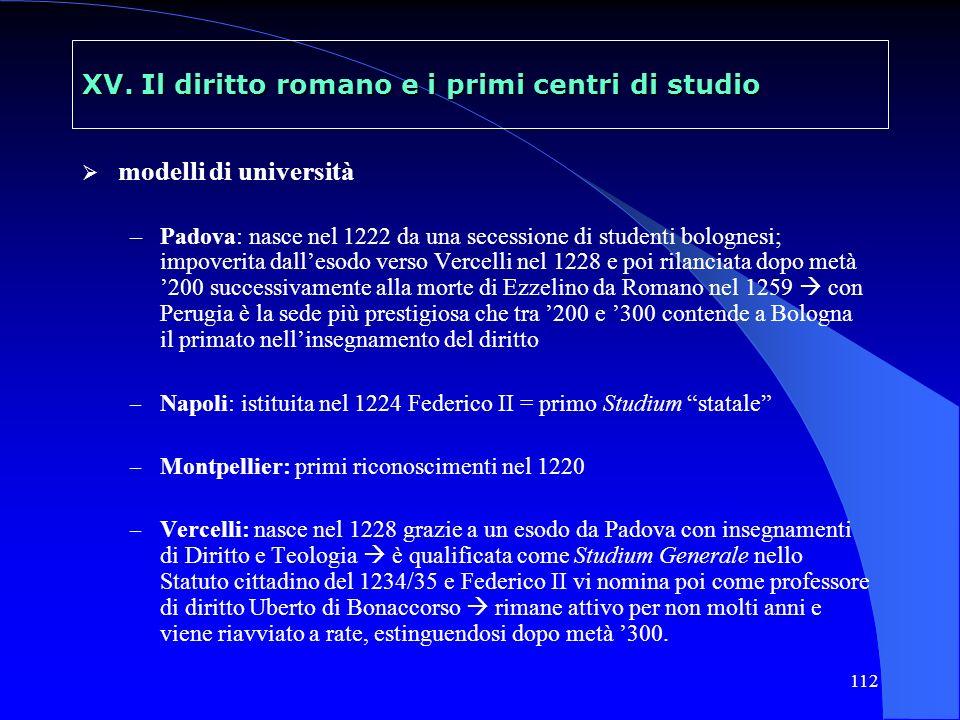 112 XV. Il diritto romano e i primi centri di studio modelli di università –Padova: nasce nel 1222 da una secessione di studenti bolognesi; impoverita
