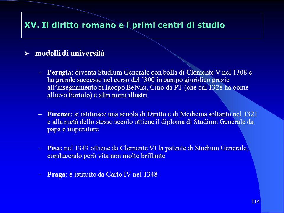 114 XV. Il diritto romano e i primi centri di studio modelli di università – Perugia: diventa Studium Generale con bolla di Clemente V nel 1308 e ha g