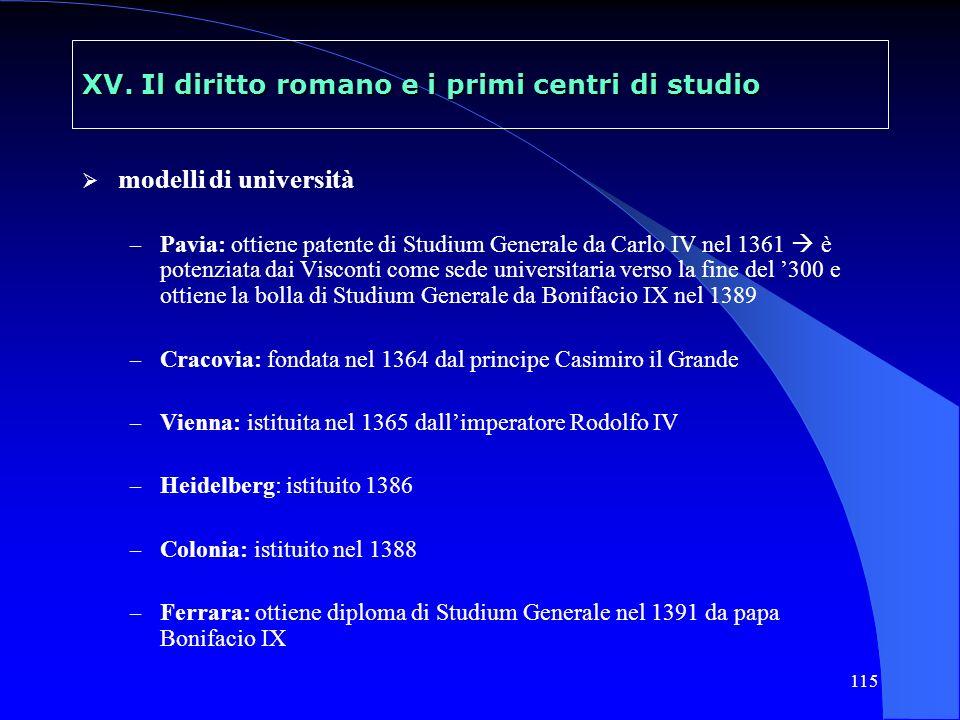 115 XV. Il diritto romano e i primi centri di studio modelli di università – Pavia: ottiene patente di Studium Generale da Carlo IV nel 1361 è potenzi
