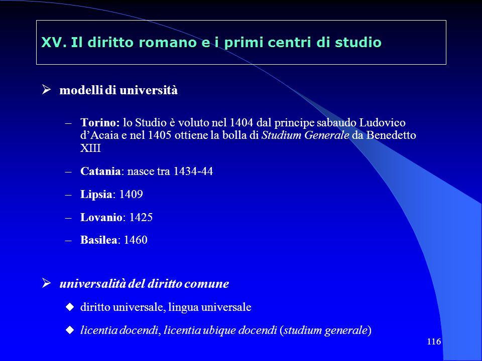 116 XV. Il diritto romano e i primi centri di studio modelli di università –Torino: lo Studio è voluto nel 1404 dal principe sabaudo Ludovico dAcaia e