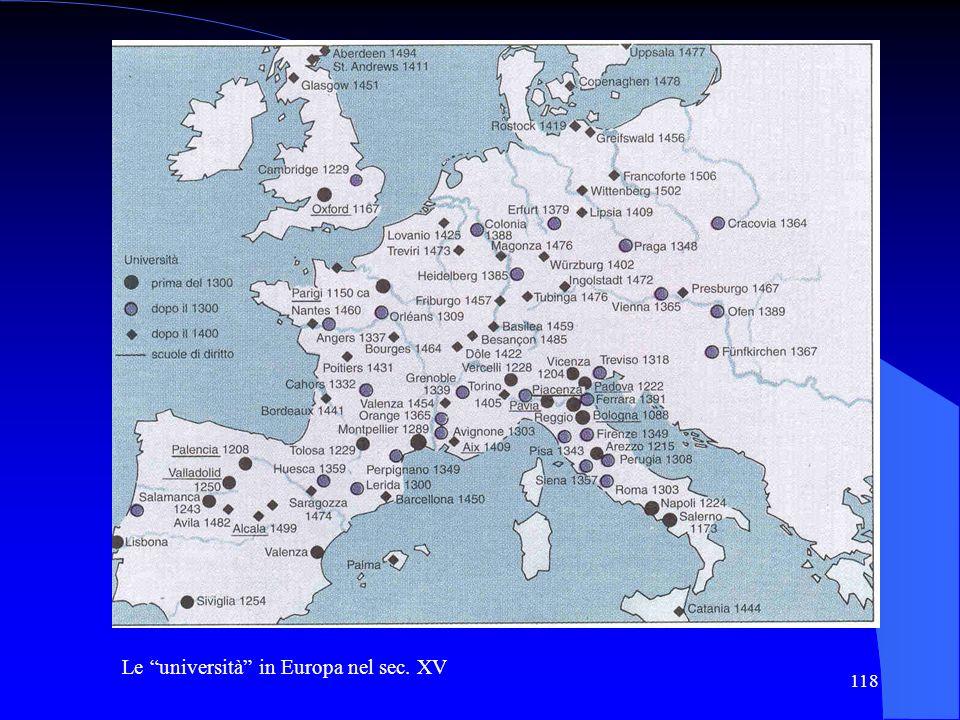 118 Le università in Europa nel sec. XV