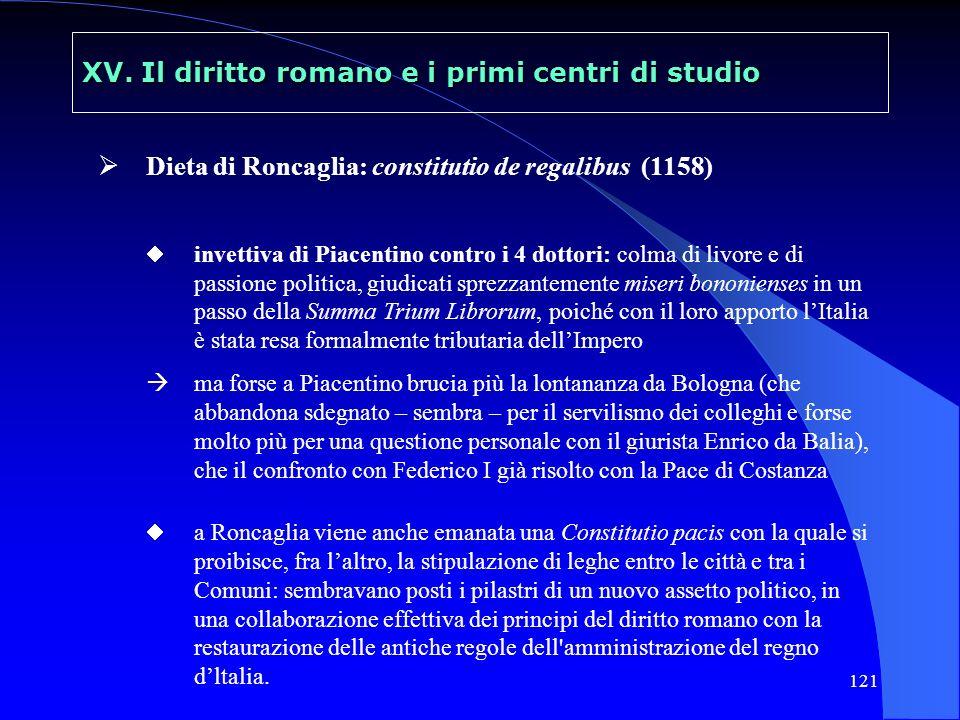 121 XV. Il diritto romano e i primi centri di studio Dieta di Roncaglia: constitutio de regalibus (1158) invettiva di Piacentino contro i 4 dottori: c